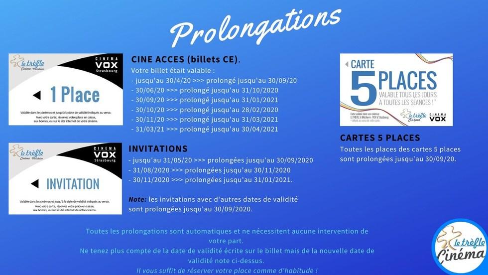 Prolongation de vos billets CE - Invitations